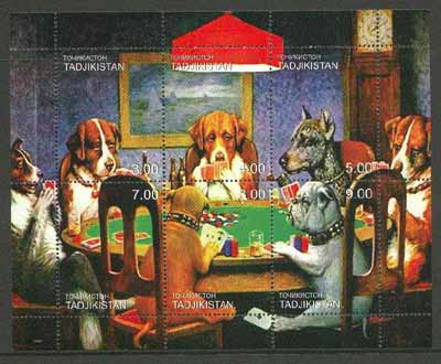 Tadjikistan 2000 Dogs Playing Poker composite perf sheetlet containing complete set of 6 values unmounted mint