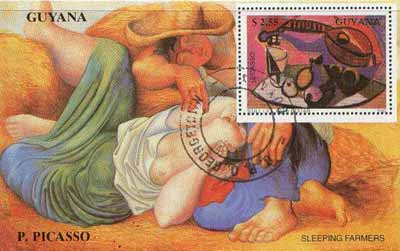 Guyana 1990 Picasso perf m/sheet (Still Life with Guitar & Sleeping farmers) cto used