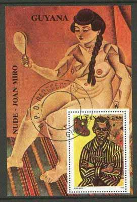 Guyana 1990 Joan Miro perf m/sheet (Nude) cto used