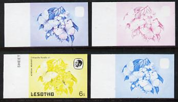 Lesotho 1984 Butterflies African Migrant 6s value x 4 imperf progressive proofs comprising various individual or combination composites unmounted mint