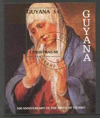 Guyana 1988 Christmas perf m/sheet (Virgin by Tiziano) cto used