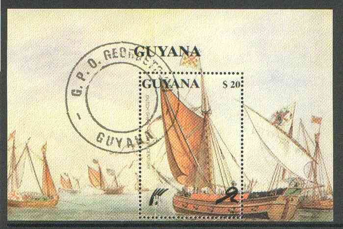 Guyana 1990 Dutch Ships perf m/sheet cto used