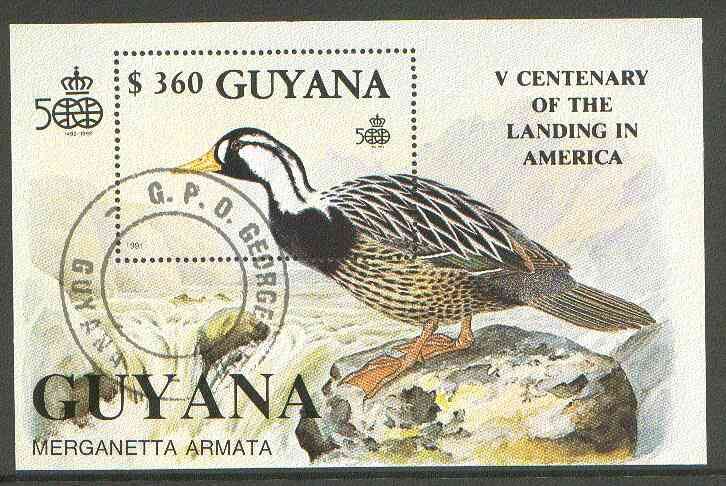 Guyana 1991 Discovery of America perf m/sheet (Duck) cto used