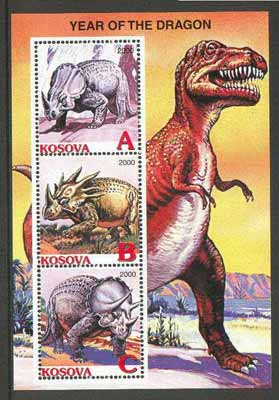 Kosova 2000 Dinosaurs (Year of the Dragon) perf sheetlet containing set of 3 values unmounted mint