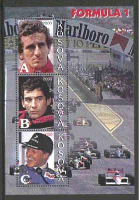 Kosova 2000 Formula 1 perf sheetlet containing set of 3 values unmounted mint