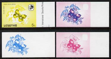 Lesotho 1984 Butterflies Yellow Pansy 5s value x 4 imperf progressive proofs comprising various individual or combination composites
