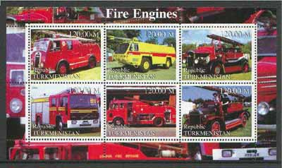 Turkmenistan 2000 Fire Engines perf sheetlet containing set of 6 values unmounted mint