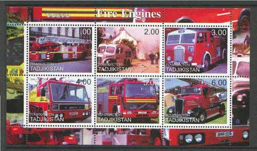 Tadjikistan 2000 Fire Engines perf sheetlet containing set of 6 values unmounted mint