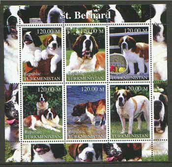 Turkmenistan 2000 St Bernard Dogs perf sheetlet containing set of 6 values unmounted mint