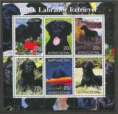 Kyrgyzstan 2000 Black labrador Retriever Dogs perf sheetlet containing set of 6 values unmounted mint