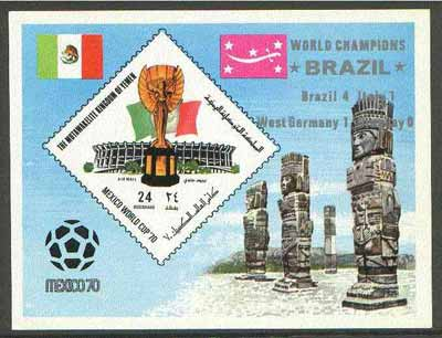 Yemen - Royalist 1970 World Cup Football 24b value (diamond shaped) imperf m/sheet unmounted mint opt'd 'Brazil World Champions' in silver
