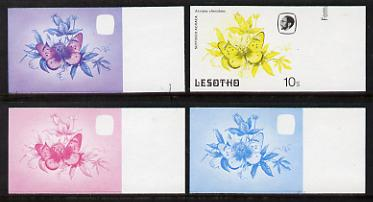 Lesotho 1984 Butterflies Suffused Acraea 10s value x 4 imperf progressive proofs comprising various individual or combination composites