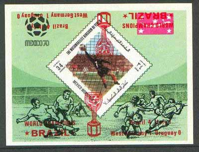 Yemen - Royalist 1970 World Cup Football 34b value (diamond shaped) imperf m/sheet unmounted mint opt'd 'Brazil World Champions' in red with opt DOUBLED (one inverted)
