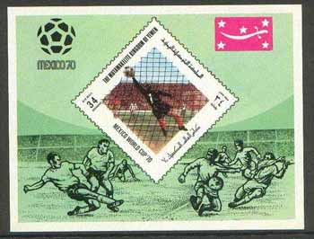 Yemen - Royalist 1970 World Cup Football 34b value (diamond shaped) imperf m/sheet unmounted mint