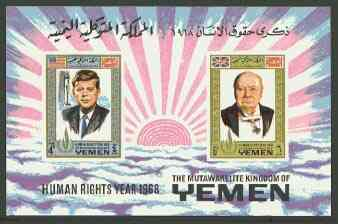 Yemen - Royalist 1968 Human Rights imperf m/sheet (Churchill & Kennedy) with emblem in gold unmounted mint, Mi BL 119