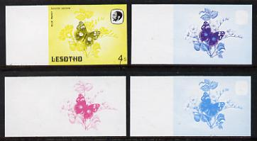 Lesotho 1984 Butterflies Blue Pansy 4s value x 4 imperf progressive proofs comprising various individual or combination composites