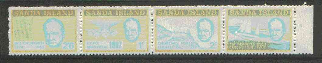 Sanda Island 1970 Churchill perf def strip of 4 (Chichester Boat, Forest etc) unmounted mint (Rosen S177-80)