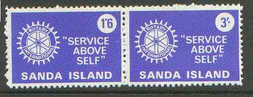 Sanda Island 1970 Rotary Clubs se-tenant perf set of 2 (1s6d & 3s blue) unmounted mint