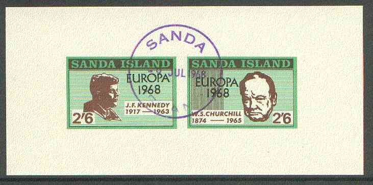 Sanda Island 1968 Europa opt'd on Kennedy & Churchill imperf m/sheet with first day Sanda cancel