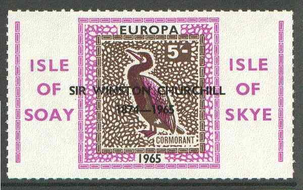 Isle of Soay 1965 Churchill overprint on Europa (Cormorant) 5s value unmounted mint