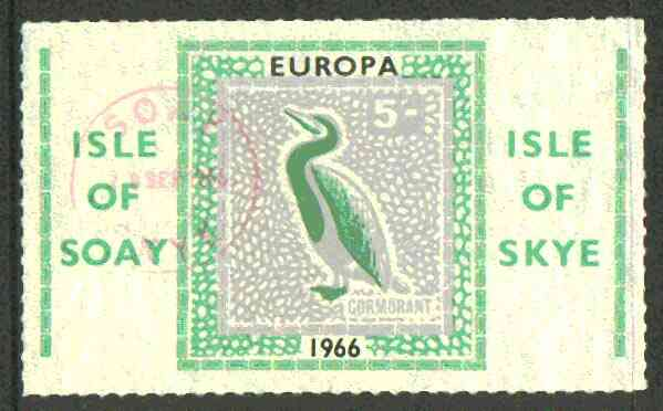 Isle of Soay 1966 Europa (Cormorant) 5s value fine used with Soay cancellation