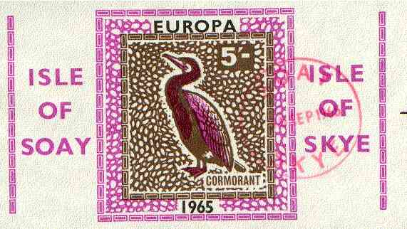 Isle of Soay 1965 Europa (Cormorant) 5s value imperf, fine used with Soay cancellation