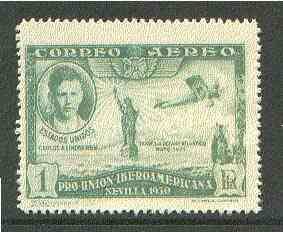 Spain 1930 Lindbergh & Spirit of St Louis 1c green (from Spanish-American Exhibition) minor gum disturbance otherwise unmounted mint SG 650 (Blocks & gutter pairs available - price pro rata)