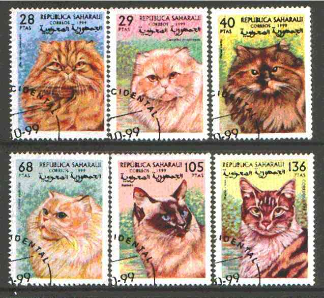 Sahara Republic 1999 Domestic Cats set of 6 fine cto used*
