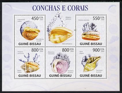 Guinea - Bissau 2009 Shells & Coral perf sheetlet containing 5 values unmounted mint