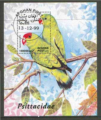 Afghanistan 1999 Parrots m/sheet fine cto used