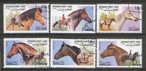Afghanistan 1999 Horses set of 6 fine cto used*, stamps on animals, stamps on horses