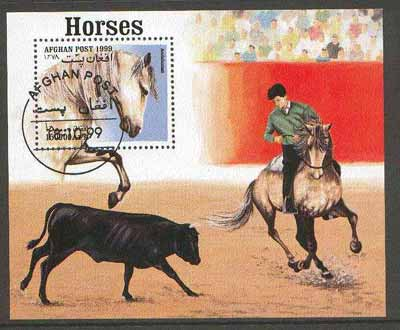Afghanistan 1999 Horses (Bull Fight) m/sheet fine cto used