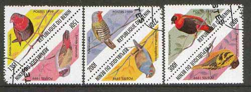Benin 1999 Birds (triangular) set of 6 fine cto used*