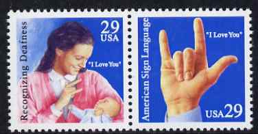 United States 1993 Deaf Communications se-tenant set of 2 unmounted mint, SG 2845-46