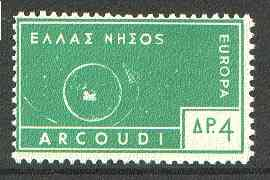 Cinderella - Arcoudi (Greek Local) 1963 4d green Europa perf label showing rocket orbitting Earth (?) unmounted mint, blocks pro rata