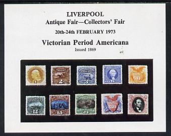Exhibition souvenir sheet for 1973 Liverpool Antique Fair showing various early USA stamps (10) unmounted mint, stamps on americana, stamps on cinderella