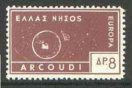 Cinderella - Arcoudi (Greek Local) 1963 8d brown Europa perf label showing rocket orbitting Earth (?) unmounted mint, blocks pro rata