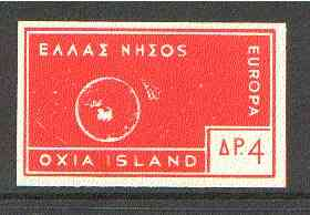 Cinderella - Oxia Island (Greek Local) 1963 4d orange-red Europa imperf label showing rocket orbitting Earth (?) unmounted mint. blocks pro rata