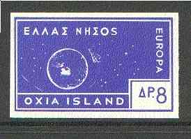 Cinderella - Oxia Island (Greek Local) 1963 8d ultramarine Europa imperf label showing rocket orbitting Earth (?) unmounted mint, blocks pro rata