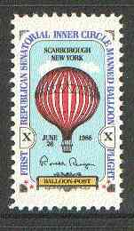 United States 1978 First Republican Senatorial Inner Circle Manned Balloon Flight Label (with Ronald Reagan's signature) unmounted mint*