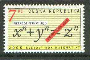 Czech Republic 2000 World Year of Mathematics unmounted mint*