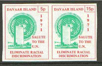 Davaar Island 1971 Imperf 5p & 15p red & green se-tenant pair (Salute to the UN - Racial Discrimination) produced for use during Great Britain Postal strike unmounted mint