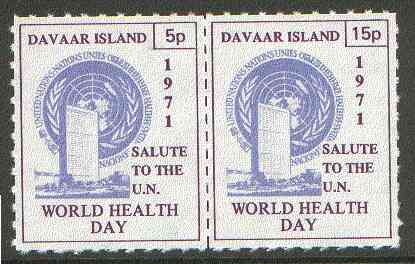 Davaar Island 1971 Rouletted 5p & 15p blue & purple se-tenant pair (Salute to the UN - World Health Day) produced for use during Great Britain Postal strike unmounted mint
