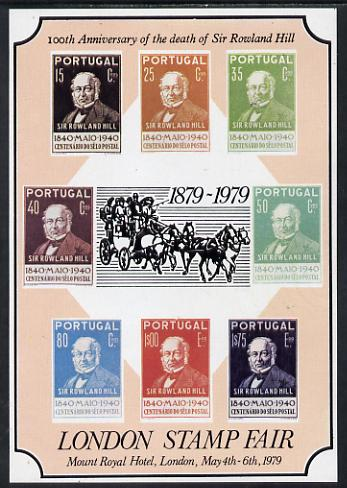 Exhibition souvenir sheet for 1979 London Stamp Fair showing Portugal Rowland Hill set of 8 unmounted mint