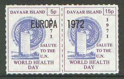 Davaar Island 1971 Rouletted 5p & 15p blue & purple se-tenant pair (Salute to the UN - World Health Day) opt'd EUROPA 1972 unmounted mint