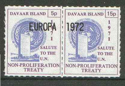 Davaar Island 1971 Rouletted 5p & 15p blue & purple se-tenant pair (Salute to the UN - Non-Proliferation Treaty) opt'd EUROPA 1972 unmounted mint