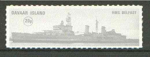 Davaar Island 1972 HMS Belfast 20p grey Rouletted without tab unmounted mint