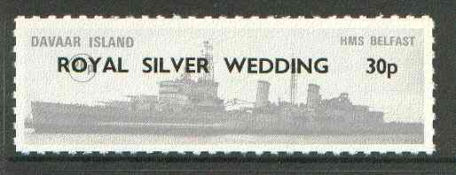 Davaar Island 1972 HMS Belfast 20p grey opt'd Royal Silver Wedding 30p Rouletted without tab unmounted mint*