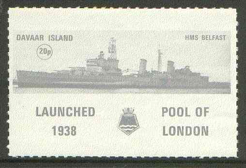 Davaar Island 1972 HMS Belfast 20p grey Rouletted with tab (Launched 1938, Pool of London with crest) unmounted mint