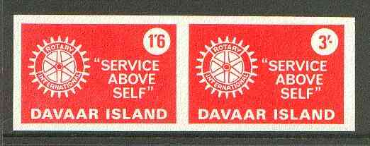 Davaar Island 1965 Rotary Clubs se-tenant imperf set of 2 (1s6d & 3s red) unmounted mint